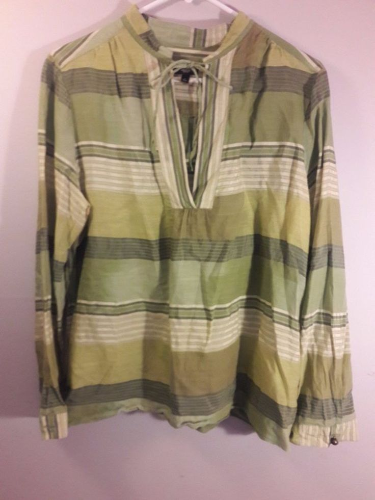 Talbots Womens Shirt Large L Top Blouse Petite Green  #Talbots #Blouse #Casual