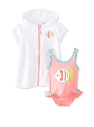 62% OFF Wippette Baby-Girl Fish One Piece with Cover-Up (Pop Pink)