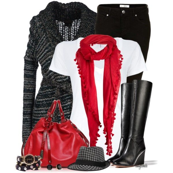 Winter OutfitFashion, Casual Outfit, Outfit Ideas, Style, Black Boots, Black White, Winter Outfit, Bright Colors, Red Black