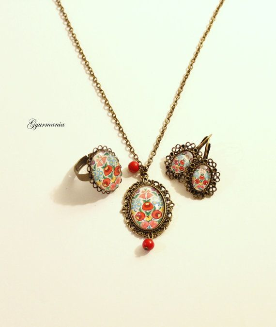Hungarian Folk art jewelry set necklace ring and by GyurMania