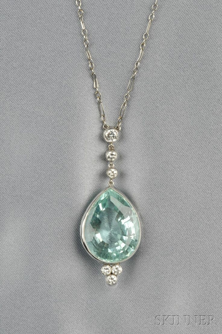 Aquamarine and Diamond Pendant, bezel-set with a pear-shaped aquamarine measuring approx. 22.00 x 17.00 x 11.00 mm, full-cut diamond accents, white gold mounts, suspended from a platinum fancy link chain, lg. 1 3/4 and 16 1/2 in.