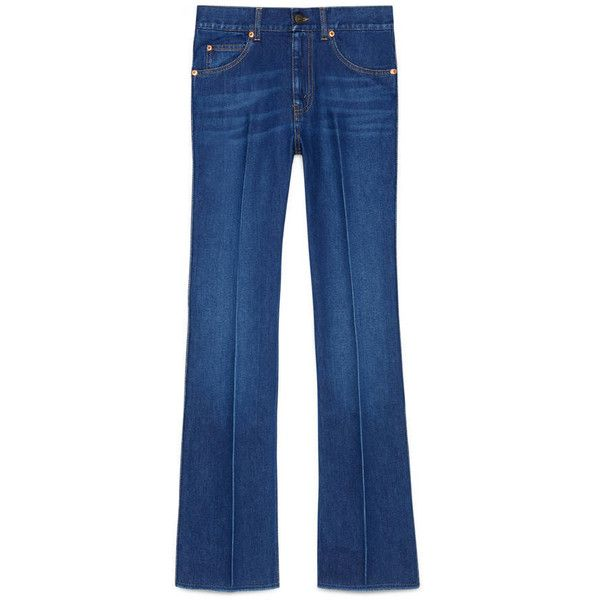 Gucci Blue Denim Pant (€515) ❤ liked on Polyvore featuring pants, pants & shorts, ready to wear, women, blue pants, blue denim pants, blue trousers, five pocket pants and gucci