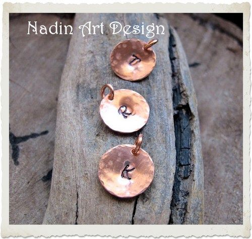 Custom Initial Pendant - Rustic Copper Personalized Charm. Letter Disc | Jewelry-Findings-Supplies - Jewelry on ArtFire