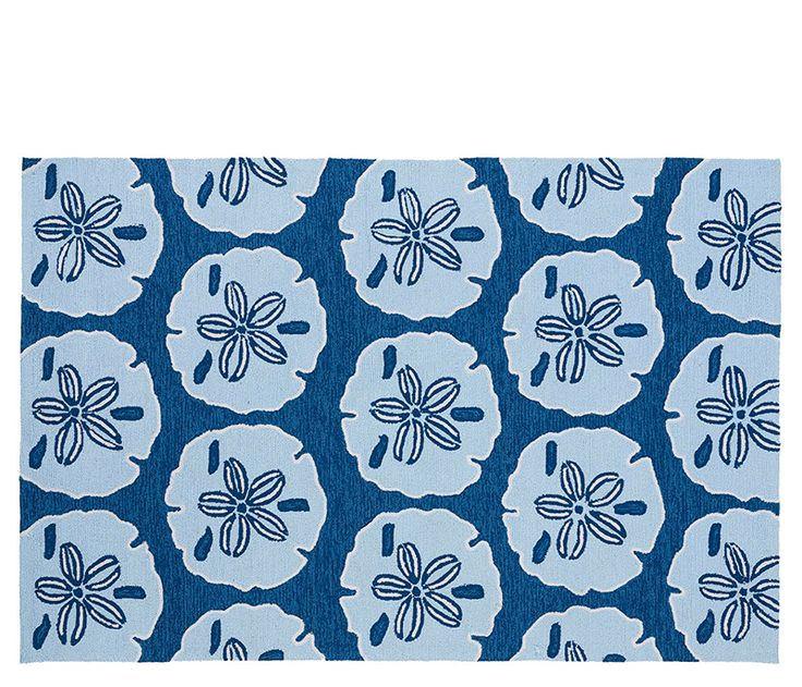 Coastal Charm In Navy And Light Blue Tones. Hand Tufted Indoor OR Outdoor  Rug.