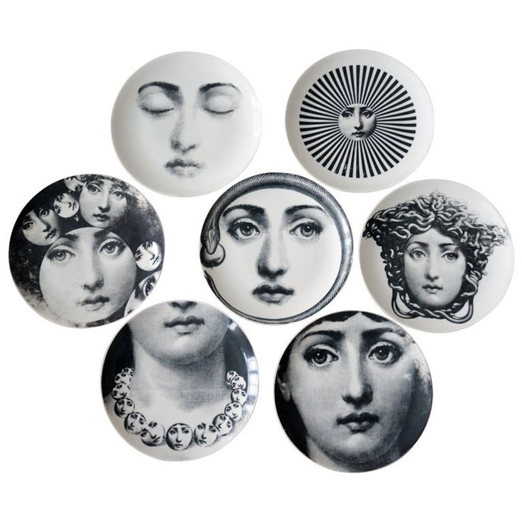 Piero Fornasetti Seven Old Porcelain Eve Plates | From a unique collection of antique and modern dinner plates at https://www.1stdibs.com/furniture/dining-entertaining/dinner-plates/