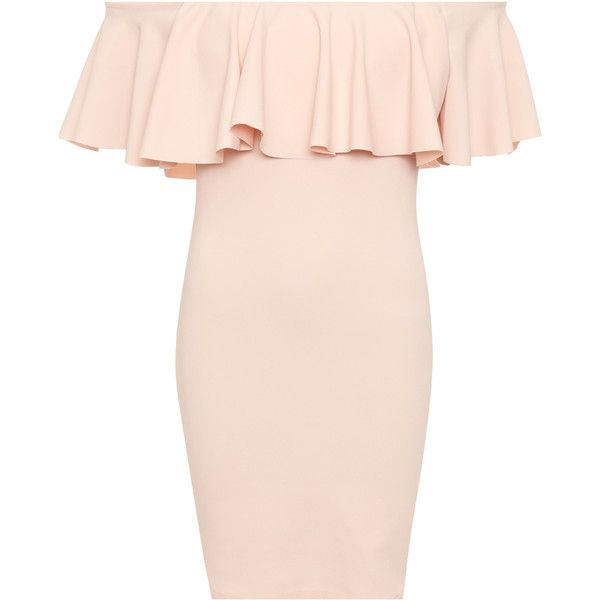 Aletha Off Shoulder Mini Party Dress found on Polyvore featuring dresses, nude, pink cocktail dress, peplum dress, off the shoulder ruffle dress, stretch mini skirt and ruffle mini skirt