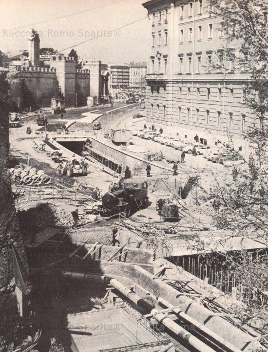 Foto storiche di Roma - Viale del Policlinico durante i lavori per la realizzazione dei sottovia di Corso Italia Anno: Fine anni '50