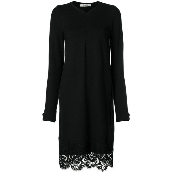 Dorothee Schumacher lace hem dress (3 650 SEK) ❤ liked on Polyvore featuring dresses, black, lacy dress and lace dress