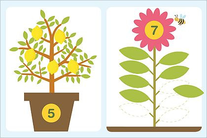 Here's a printable file folder game for matching numbers to lemons and leaves.