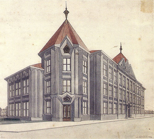 Josef Gocar, Project for primary school in Chotebor, 1912. India ink, craie, aquarelle, .38 x .423m. Prague, National technical museum archive of architecture