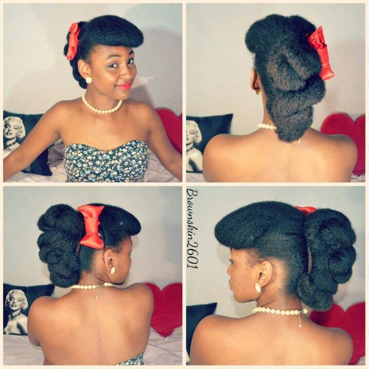 .Retro updo on natural hair