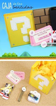 Tutorial muy sencillo y geek para regalar, esta caja de los 5 sentidos tiene los regalitos sorpresa dentro, uno para cada sentido y está decorada al estilo Mario Bros. ¡Muy sencilla de hacer!
