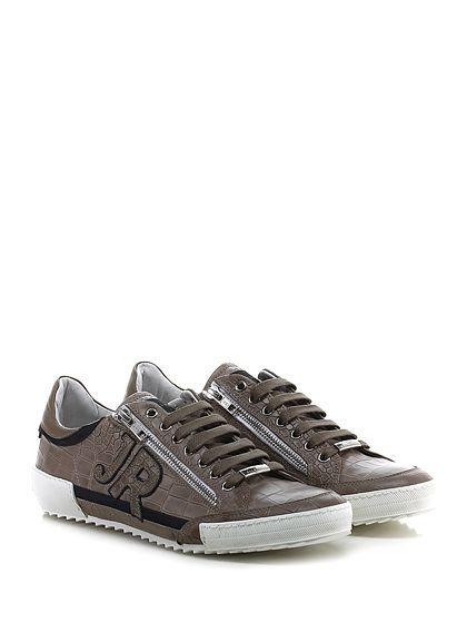 JOHN RICHMOND - Sneakers - Uomo - Sneaker in pelle e pelle stampa coccodrillo con zip su ambo i lati e suola in gomma. Tacco 35, platform 25 con battuta 10. - FANGO - € 258.00