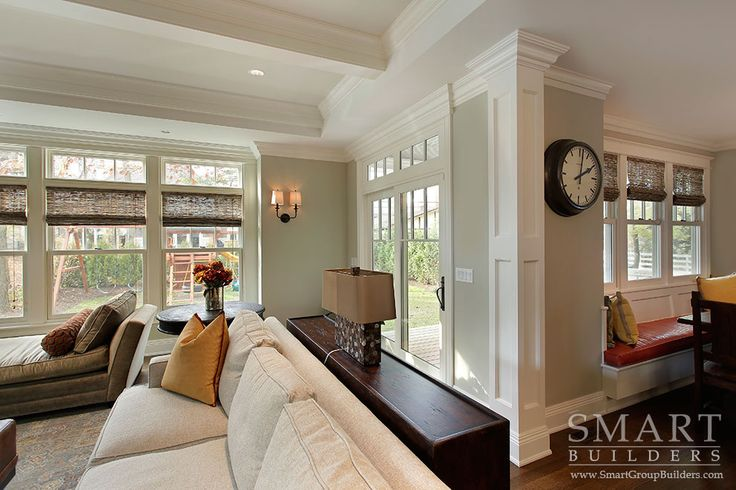 Contemporary craftsman style custom home family room for Columns in living room ideas
