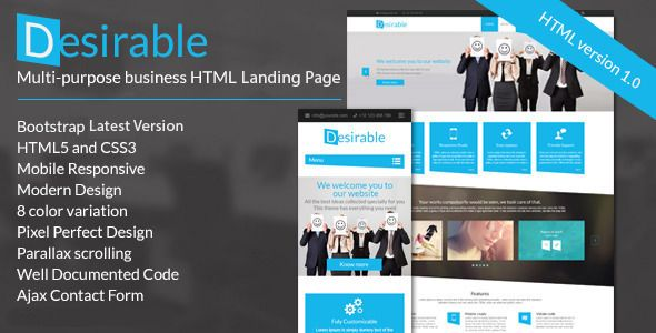 Desirable -  Business Landing Page Template . Desirable has features such as High Resolution: Yes, Compatible Browsers: IE9, IE10, IE11, Firefox, Safari, Opera, Chrome, Compatible With: Bootstrap 3.x, Columns: 4+