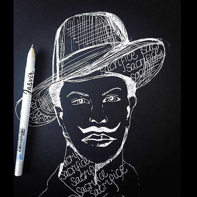 """""""My  strength is the strength of oppressed my courage is the courage of desperation."""" - Bhagat Singh (Page 3 of Jail Diary) -wonderful artwork by @jasvirkambo"""
