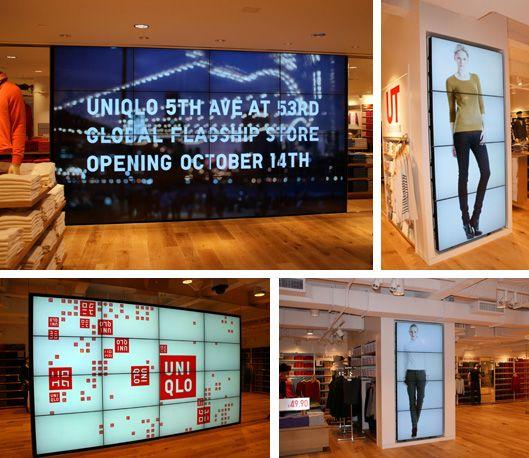 ユニクロニューヨーク5番街店に設置されたデジタルサイネージ