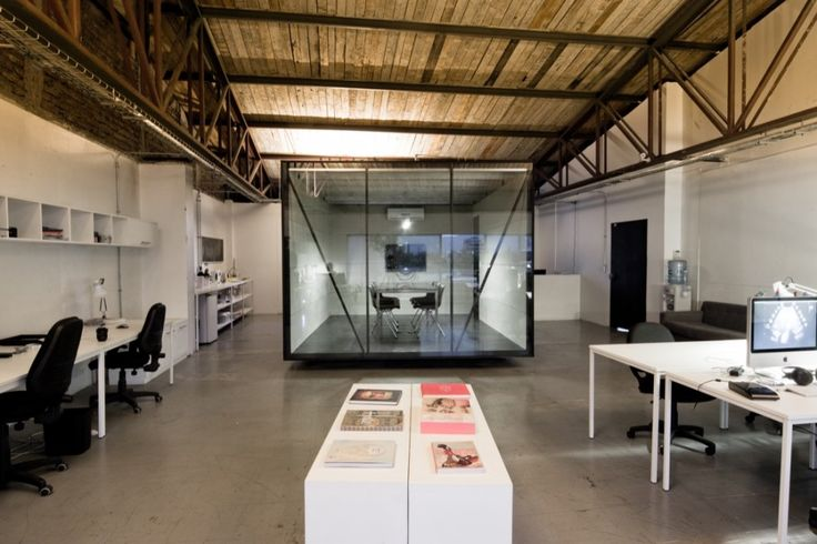 Glass cube conference room industrial chic studio for Industrial modern office