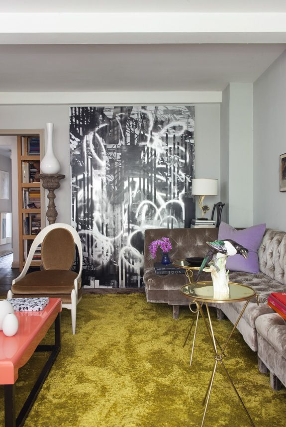 What Do You Get When Cross Chartreuse Shag And Walls Purple Accents Large Scale Artwork