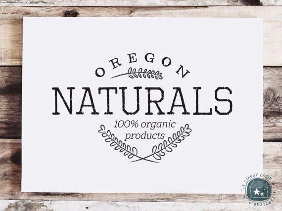 Hand Drawn Logo Design  Customizable  Organic  by TheStarryCabin botanic, herb, wheat, baking, cafe, rustic