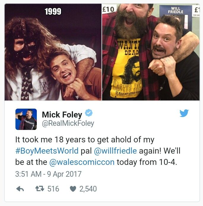 "Foley and Friedle met up at Wales Comic Con, and by the looks of it, Eric is still trapped in Mankind's clutches 18 years later. ""This makes me so happy. I missed ya @RealMickFoley!"" Friedle tweeted after seeing the side-by-side pics. Our nostalgia intake is already nearing peak capacity, and the week's just getting started."