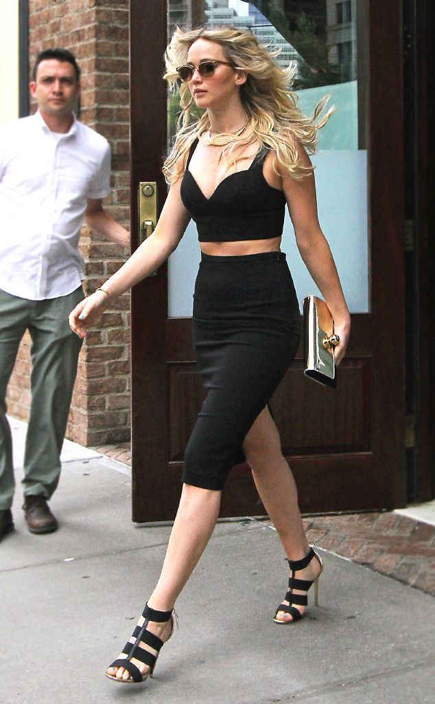 Crop Top Queen from Jennifer Lawrence's Street Style  Jennifer is queen of all crop tops in this sexy black Michael Michael Kors get-up.