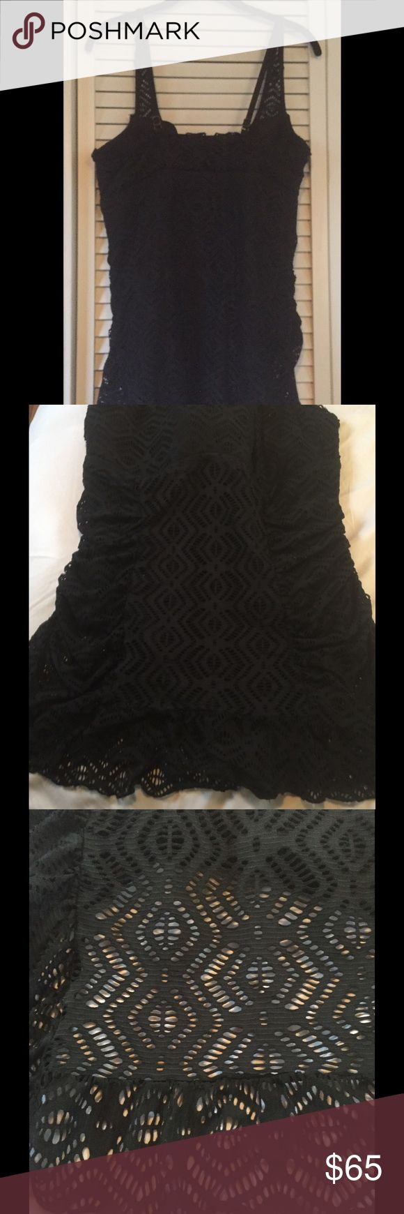 Becca 2XL Double Layer 1 Piece Swimsuit w/ Ruffle NWOT Becca 2XL Black One Piece Swimsuit with lace Ruffle over layer.  Super flattering BECCA Swim One Pieces
