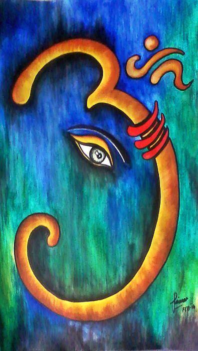 Sanskrit OM Ganesha | indian paintings canvas | Pinterest | Sanskrit, Ganesha and Om