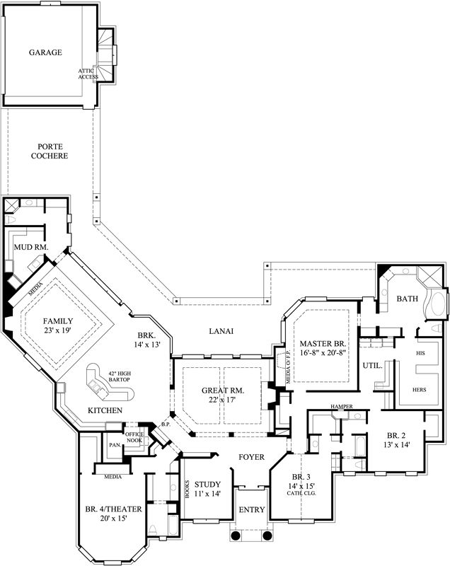 Luxury Style House Plans 4758 Square Foot Home 1 Story