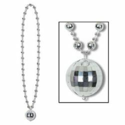 BE50143 - Disco Ball Bead Necklace Necklace Disco Ball Beads with Disco Ball Medallion (90cm). Please note: approx. 14 day delivery
