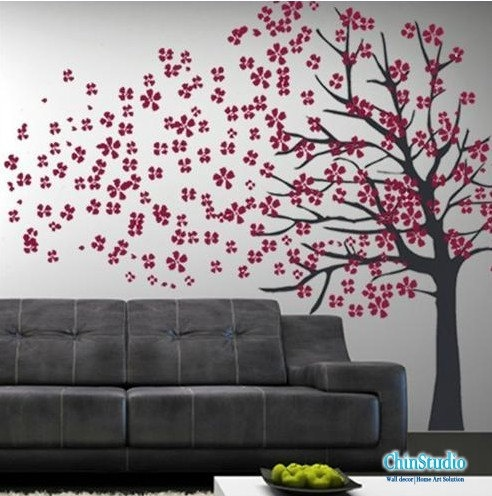 Vinyl Wall Decals Tree Wall Sticker Home Arts Tree With Blowing Cherry  Blossom. $65.00