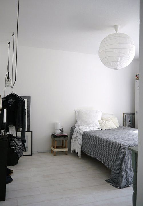 high hanging paper lantern... great idea for rooms with lower walls