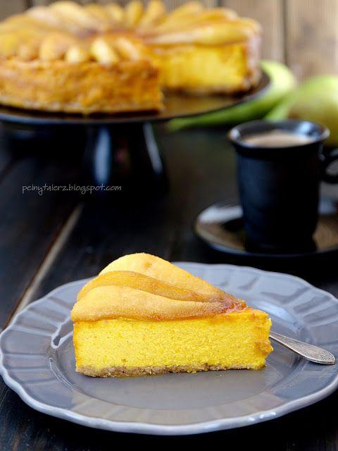 Sernik dyniowy z karmelizowanymi gruszkami - Pumpkin cheesecake with pears