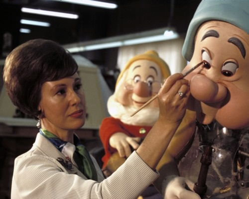 "Imagineering artist Harriet Burns working on the 7 Dwarfs for the 1971 version of Walt Disney World's ""Snow White""-ride"