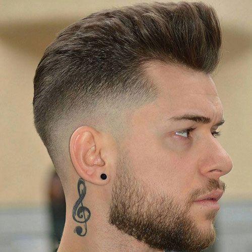 Medium Fade + Brushed Up Hair + Beard