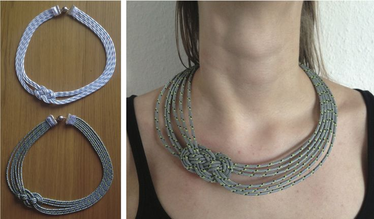 We have a tradition of sailing in my family and I had the idea of using the thinnest kind of sailing boat robe for a knot necklace. All aboard matey! Knot design from http://www.nbeads.com/article-how-to-make-a-rope-necklace-575.html
