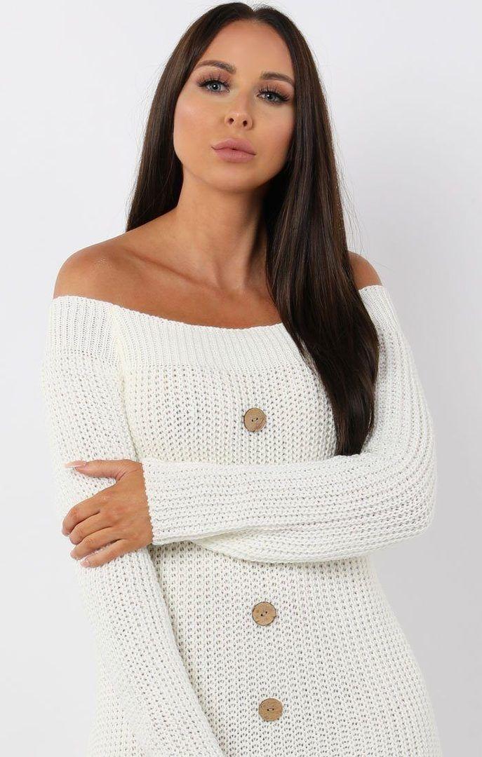 e62b9820fac8ce White Bardot Button Knit Jumper Dress - Mercy