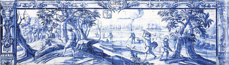 PROVÉRBIOS DE NOVEMBRO http://dotempodaoutrasenhora.blogspot.pt/2011/11/proverbios-de-novembro.html NOVEMBRO (SIGNO SAGITÁRIO, de acordo com o painel). Painel de azulejos encimado pela designação latina do mês e pelo respectivo Signo de Zodíaco, encerrado num círculo. Representa o abate de árvores para cortar lenha para o Próximo Inverno. Sala 106 da Universidade de Évora, antigo Colégio do Espírito Santo, inaugurado em 1553.