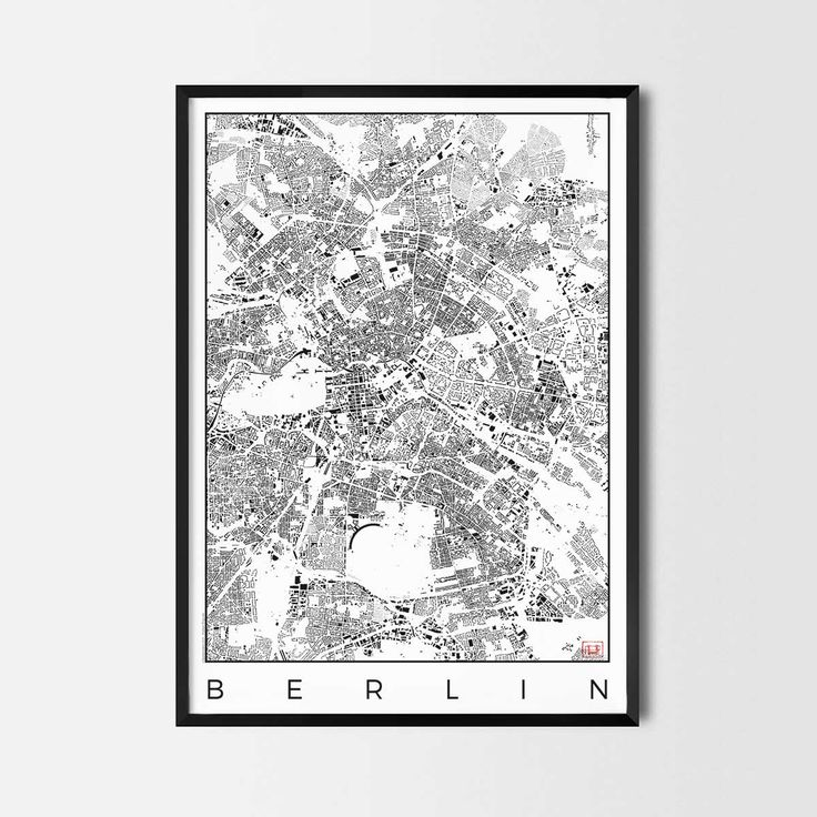 Berlin schwarzplan map art city posters. Unique interior decor idea for offices art posters or kitchen art prints.  Minimalist city art gifts for travelers as framed art or canvas wall art. Urban plan map style. print, poster, gift | CityArtPosters.com