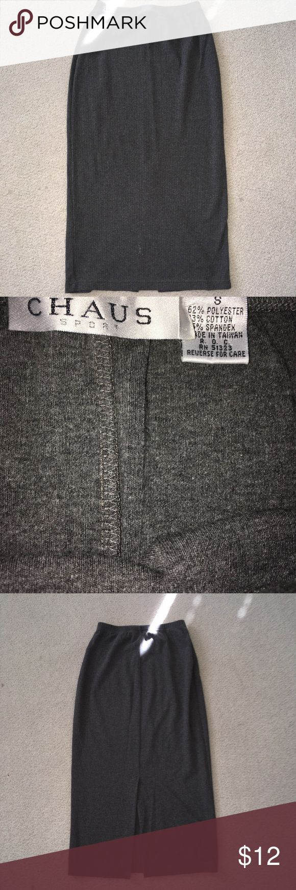 🌻Chaus szS gray stretch cotton maxi skirt!🌻 🌻Chaus size Small gray stretch cotton super cute maxi skirt!  35 inch length with back kick pleat. Elastic waist. Gently worn.  Smoke free home.  Taking offers!!🌻 Chaus Skirts