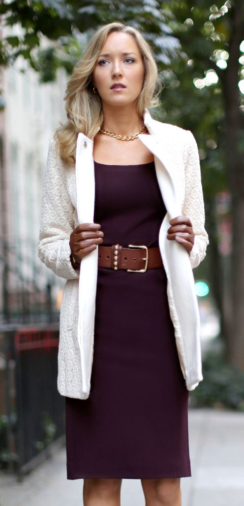 Women 39 S Fashion Ivory Cream Lace Coat Burgundy Knit Sheath Dress Brown Stud Waist Belt