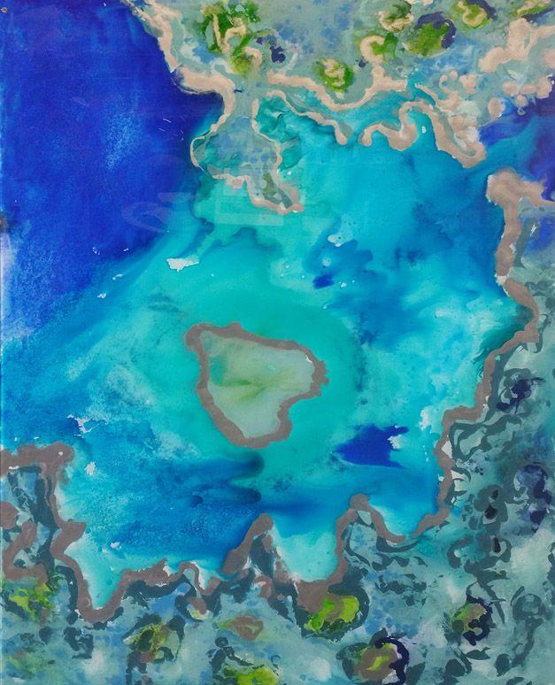 Hand painted Barrier Reef inspired Glass Art. Gold Coast, Australia