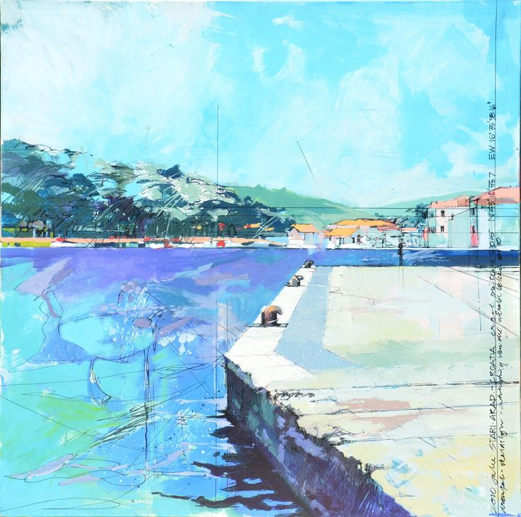 oil on canvas 1200 x 1200-bollards on shore Starigrad Croatia - threshold