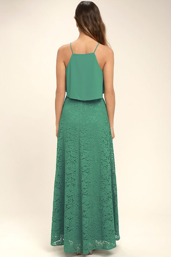 Stunning Teal Two-Piece Dress - Lace Two-Piece Dress - Two-Piece Maxi Dress - $89.00
