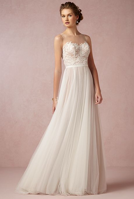 "Brides: Love Marley by Watters. ""Penelope"" gown, $970, Love Marley by Watters available at BHLDN"