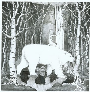 Theodor Kittelsen.  Theodor Kittelsen, The White Bear King.  Polar bear biologist theorize that Kittelsen's painting of they myth of the White Bear King actually documents polar bears that once regularly ventured inland into the Scandinavian forests.