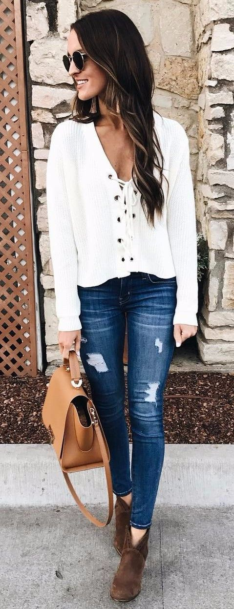 lace up knits + rips business casual outfit
