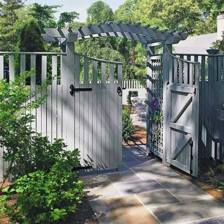 I just love everything about this...the open top.... The double gate.... The color..... The path..... The trellis..... I want!