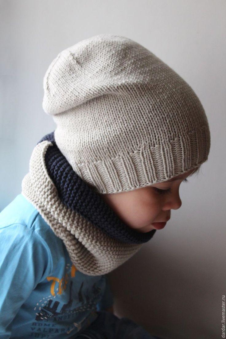 """Купить Комплект для мальчика """"Гекльберри Финн"""" шапочка и снуд - серый, светло-серый, синий"""