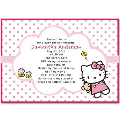 10 best Hello Kitty Baby Shower Invitations images on Pinterest